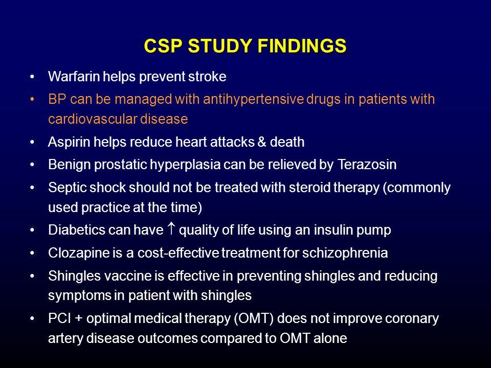 CSP STUDY FINDINGS Warfarin helps prevent stroke
