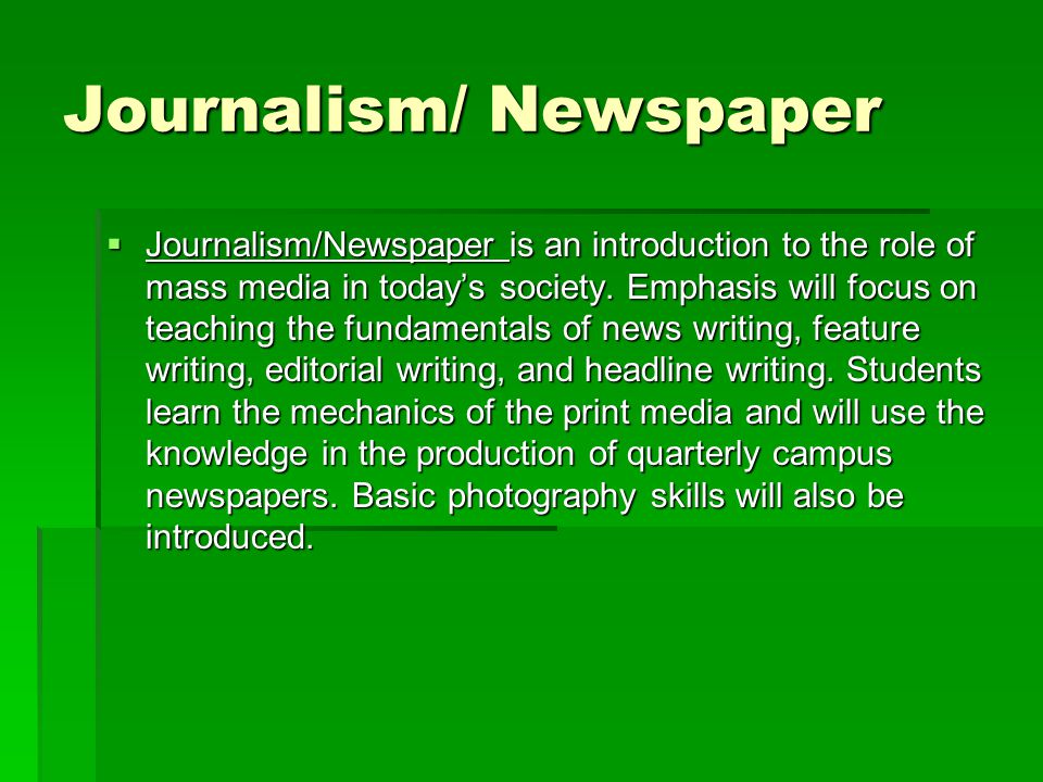 Journalism/ Newspaper