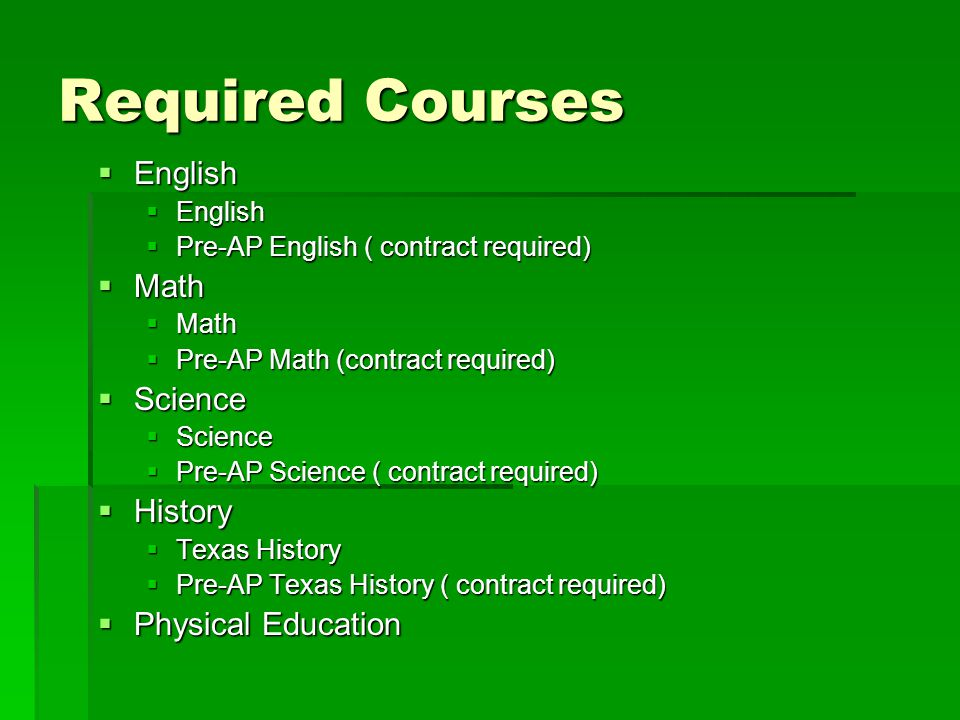 Required Courses English Math Science History Physical Education