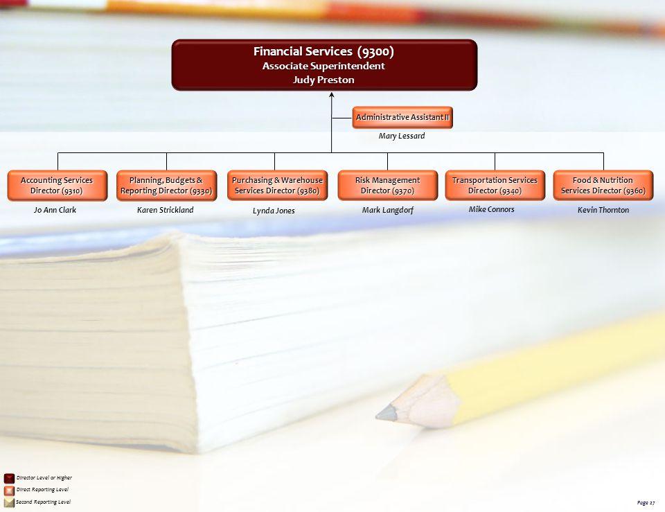 Financial Services (9300) Associate Superintendent Judy Preston