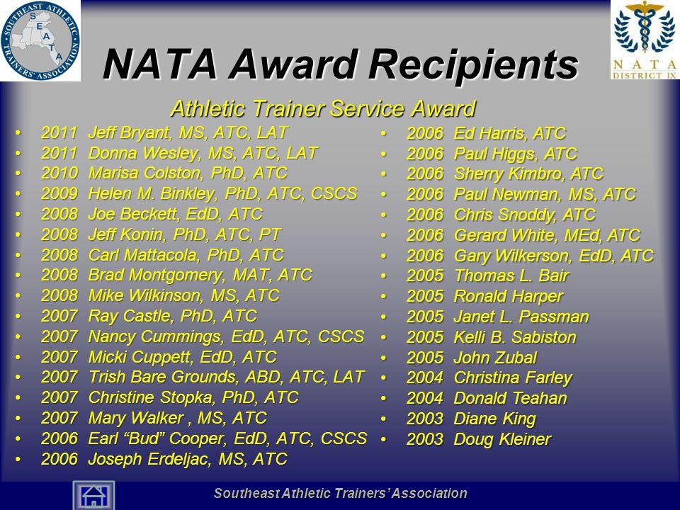NATA Award Recipients Athletic Trainer Service Award