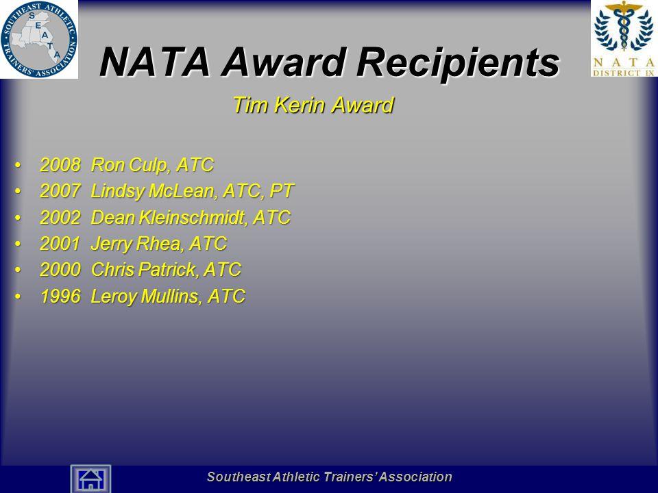 NATA Award Recipients Tim Kerin Award 2008 Ron Culp, ATC