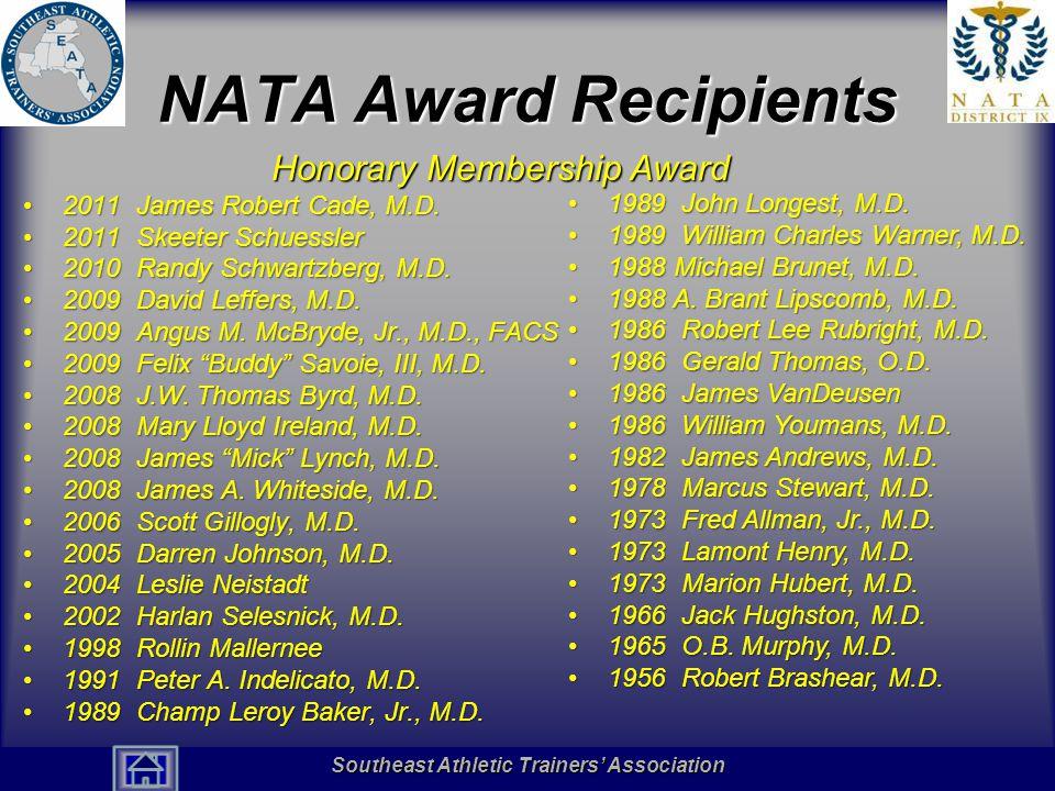 NATA Award Recipients Honorary Membership Award