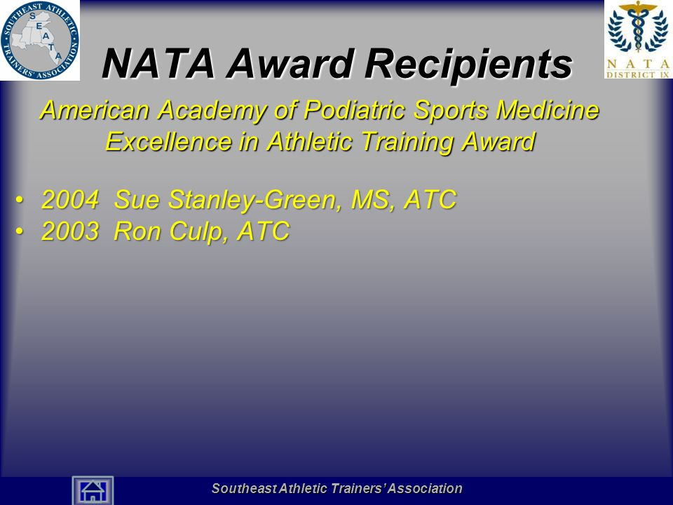 NATA Award Recipients American Academy of Podiatric Sports Medicine Excellence in Athletic Training Award.