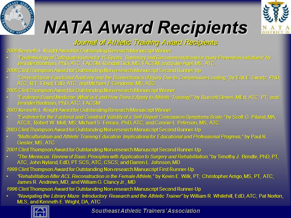 NATA Award Recipients Journal of Athletic Training Award Recipients