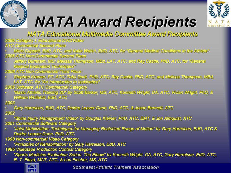 NATA Award Recipients NATA Educational Multimedia Committee Award Recipients. 2006 Category I: Educational DVD/Video.