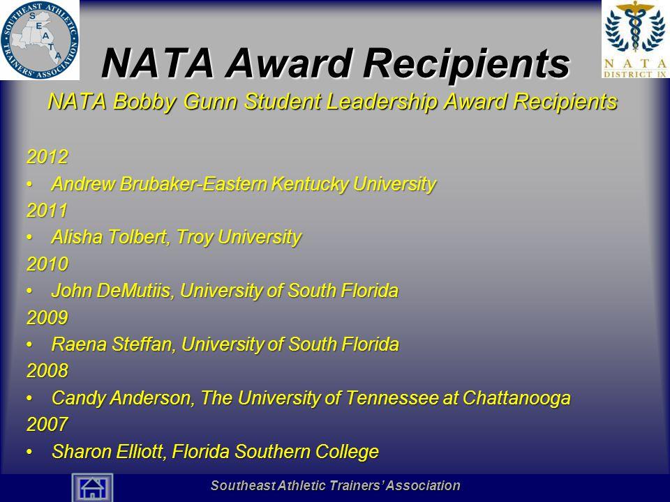 NATA Award Recipients NATA Bobby Gunn Student Leadership Award Recipients. 2012. Andrew Brubaker-Eastern Kentucky University.
