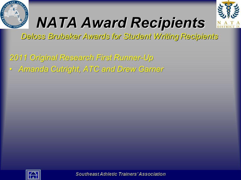 NATA Award Recipients Deloss Brubaker Awards for Student Writing Recipients. 2011 Original Research First Runner-Up.