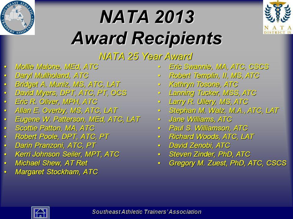 NATA 2013 Award Recipients NATA 25 Year Award Mollie Malone, MEd, ATC