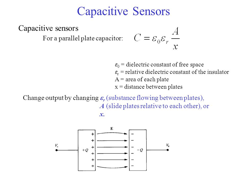 Capacitive Sensors Capacitive sensors For a parallel plate capacitor: