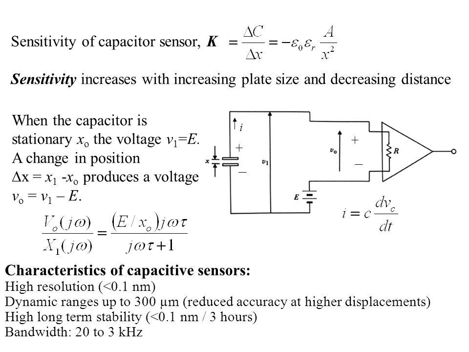 Sensitivity of capacitor sensor, K