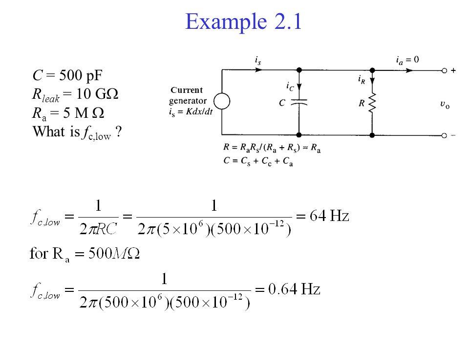 Example 2.1 C = 500 pF Rleak = 10 G Ra = 5 M  What is fc,low