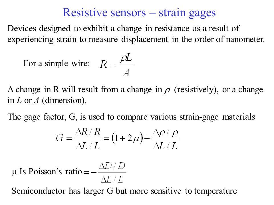 Resistive sensors – strain gages