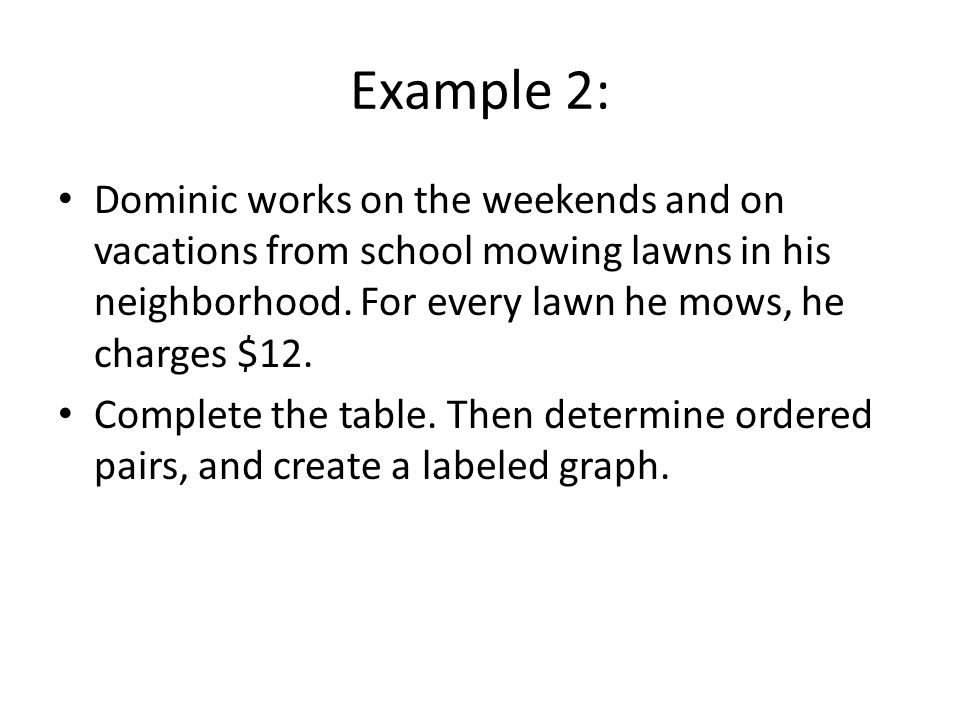 Example 2: Dominic works on the weekends and on vacations from school mowing lawns in his neighborhood. For every lawn he mows, he charges $12.
