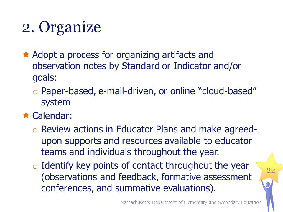 2. Organize Adopt a process for organizing artifacts and observation notes by Standard or Indicator and/or goals: