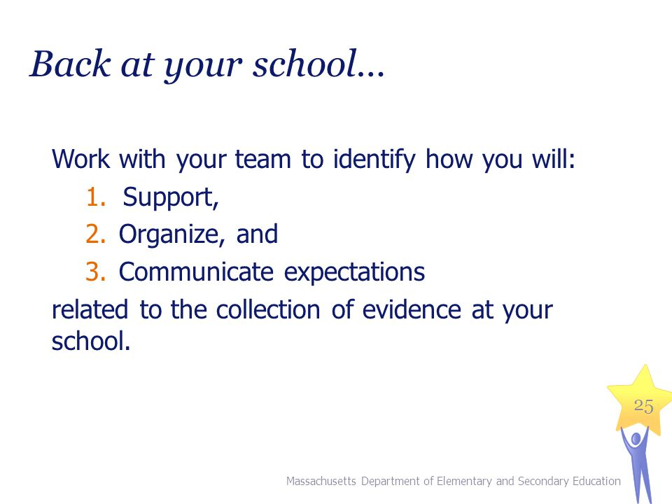 Back at your school… Work with your team to identify how you will: