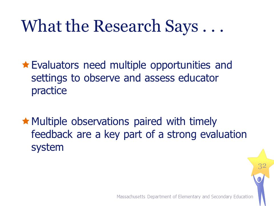What the Research Says . . . Evaluators need multiple opportunities and settings to observe and assess educator practice.