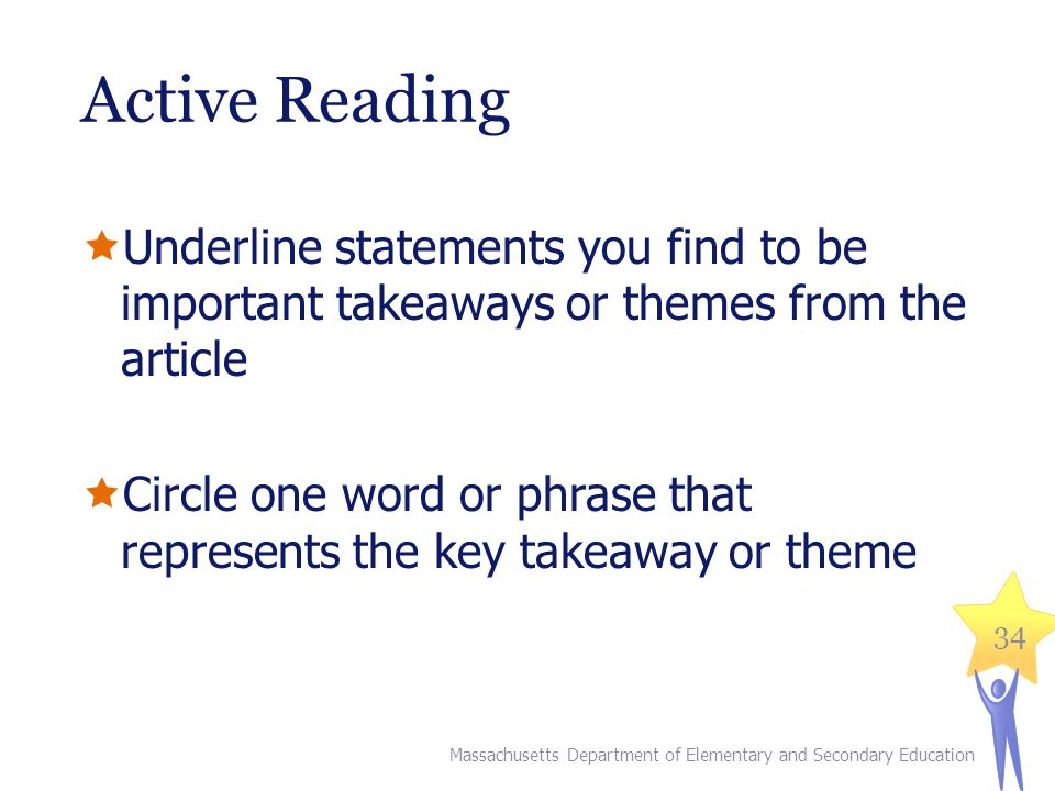 Active Reading Underline statements you find to be important takeaways or themes from the article.