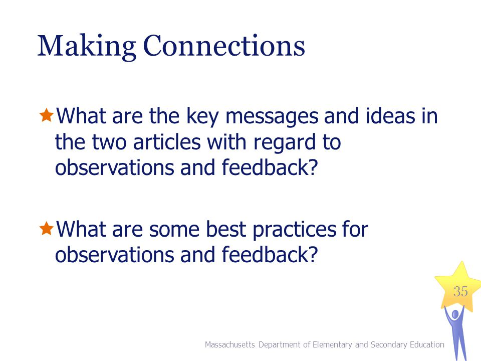 Making Connections What are the key messages and ideas in the two articles with regard to observations and feedback