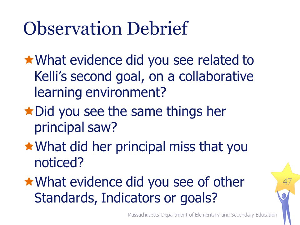 Observation Debrief What evidence did you see related to Kelli's second goal, on a collaborative learning environment