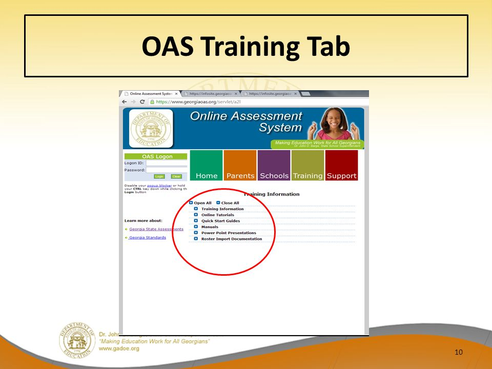 OAS Training Tab
