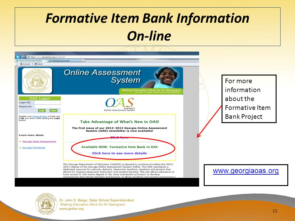 Formative Item Bank Information On-line