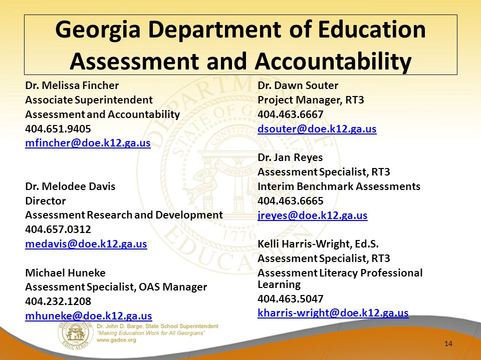 Georgia Department of Education Assessment and Accountability