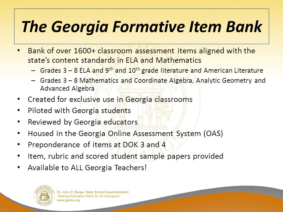 The Georgia Formative Item Bank