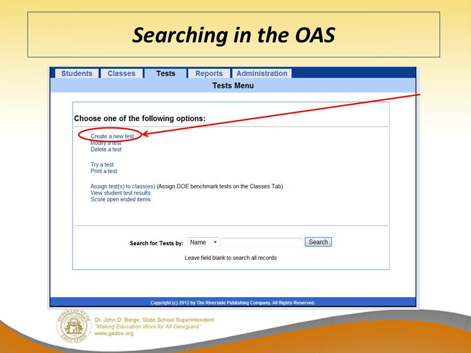 Searching in the OAS