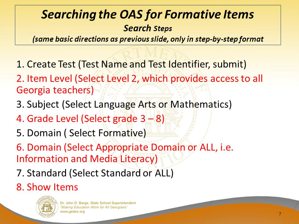 Searching the OAS for Formative Items Search Steps