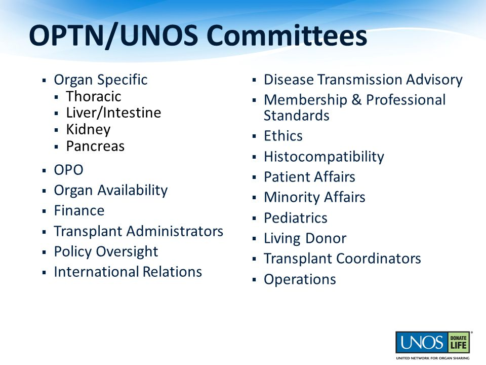 OPTN/UNOS Committees Organ Specific Thoracic Liver/Intestine Kidney