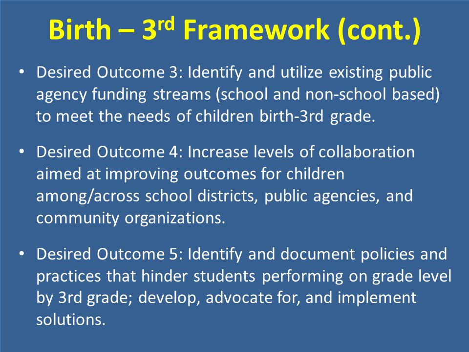 Birth – 3rd Framework (cont.)