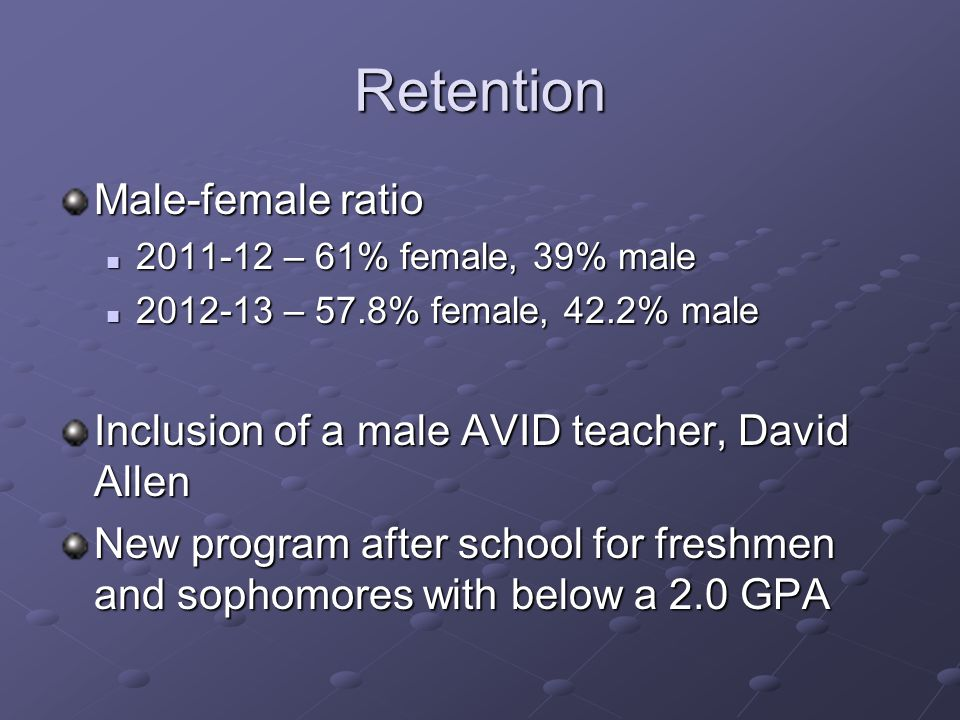 Retention Male-female ratio