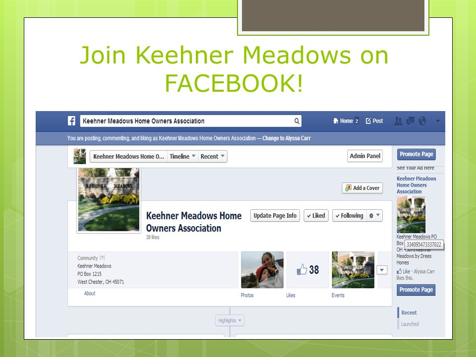 Join Keehner Meadows on FACEBOOK!