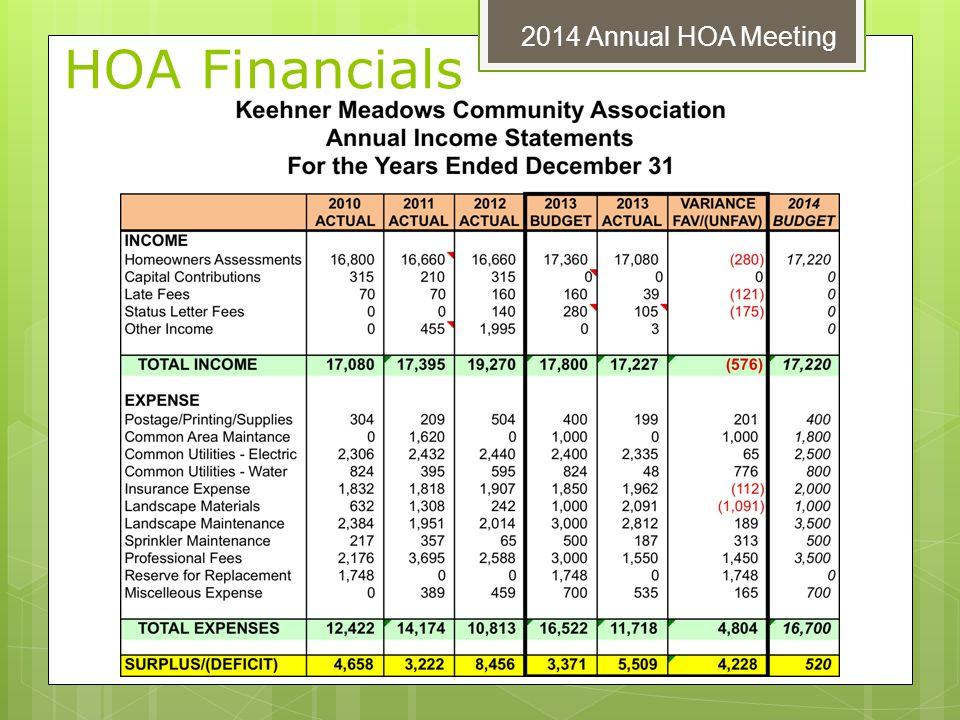 HOA Financials 2014 Annual HOA Meeting