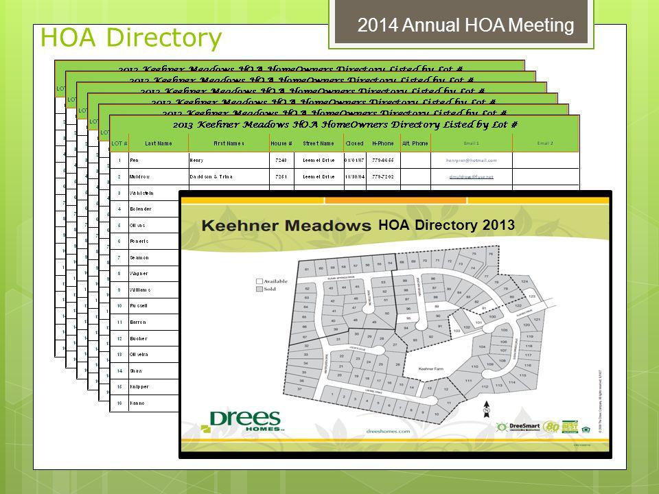 HOA Directory 2014 Annual HOA Meeting HOA Directory 2013