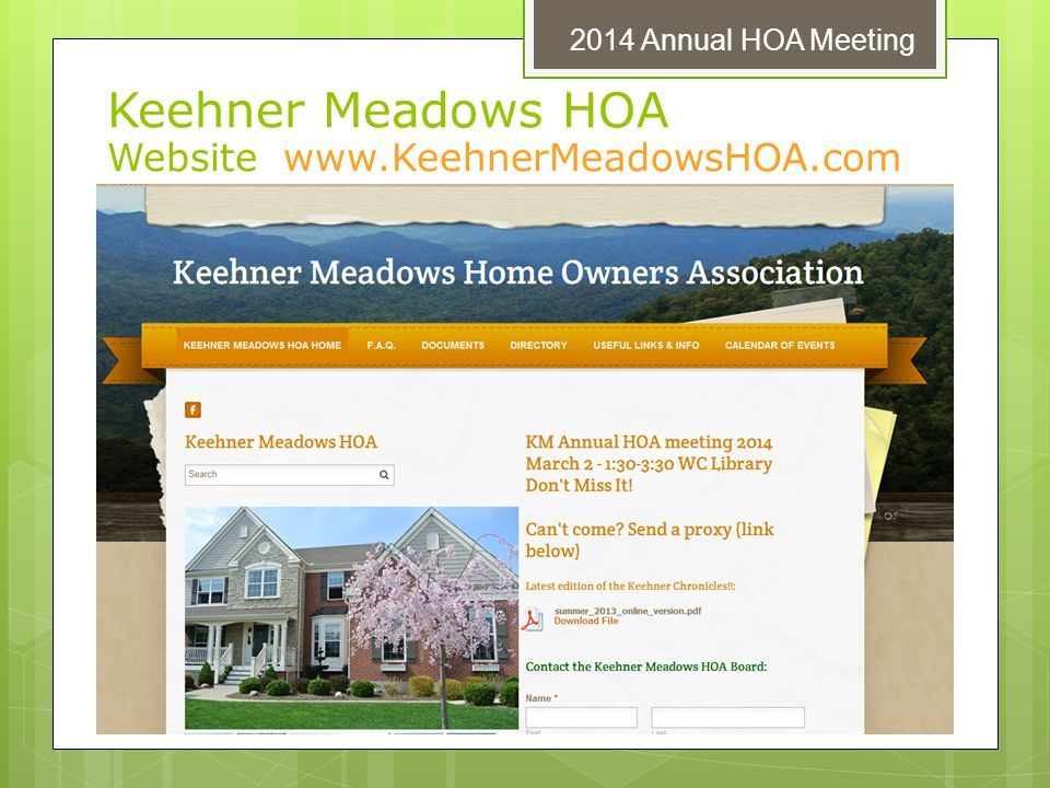 Keehner Meadows HOA Website www.KeehnerMeadowsHOA.com