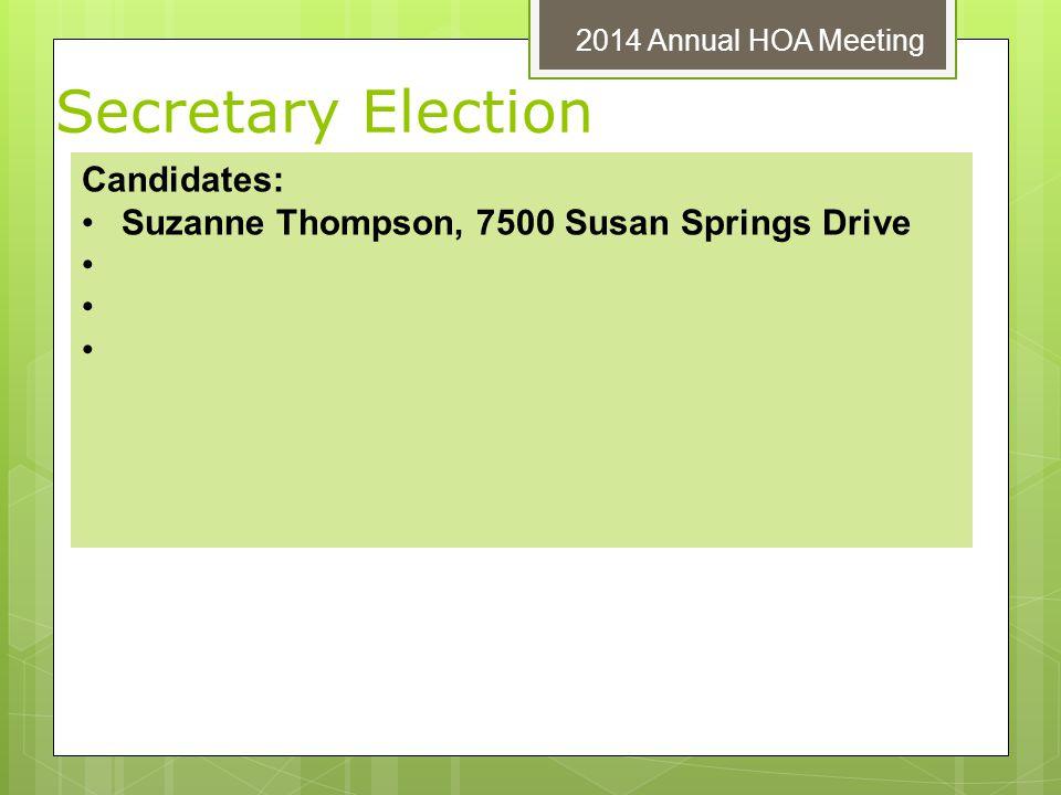 Secretary Election Candidates: