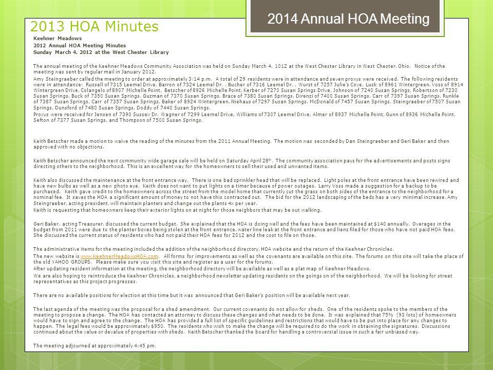 2013 HOA Minutes 2014 Annual HOA Meeting