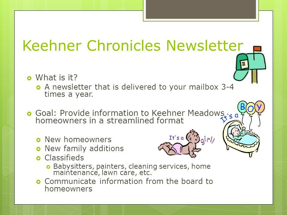 Keehner Chronicles Newsletter