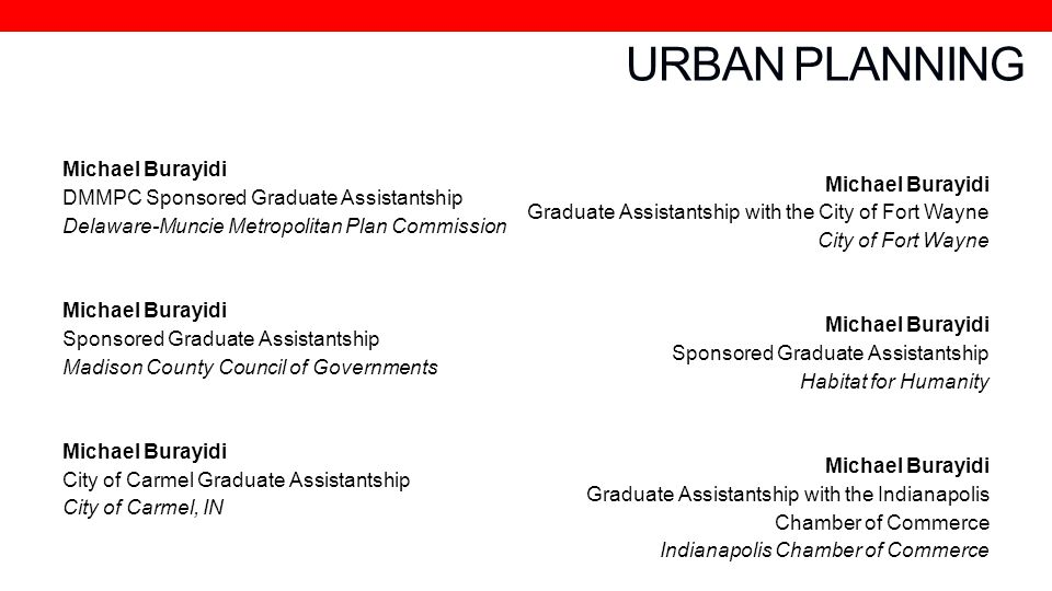 URBAN PLANNING Michael Burayidi DMMPC Sponsored Graduate Assistantship