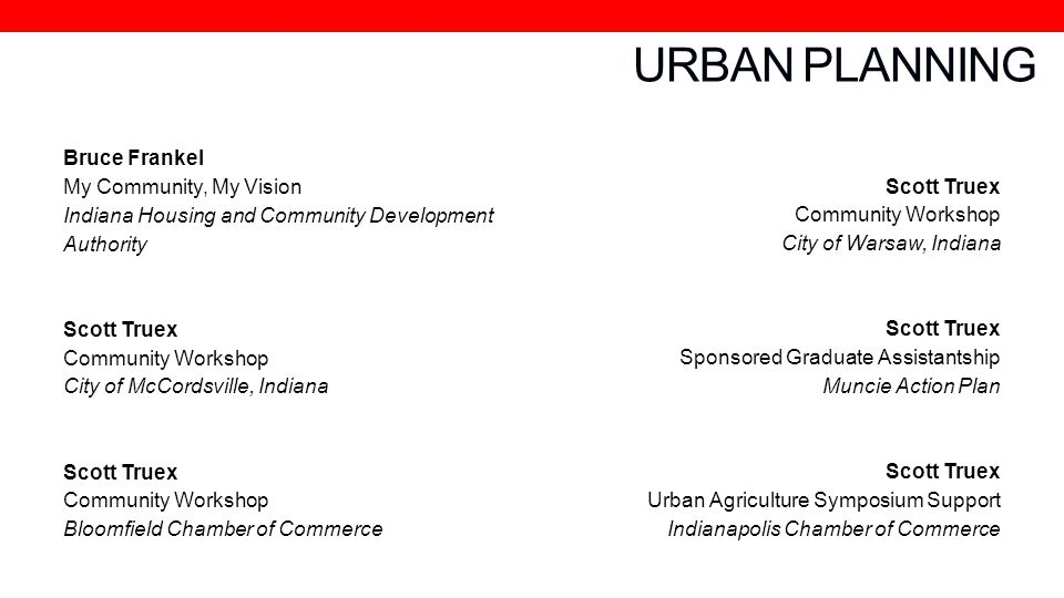 URBAN PLANNING Bruce Frankel My Community, My Vision