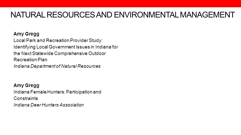 NATURAL RESOURCES AND ENVIRONMENTAL MANAGEMENT