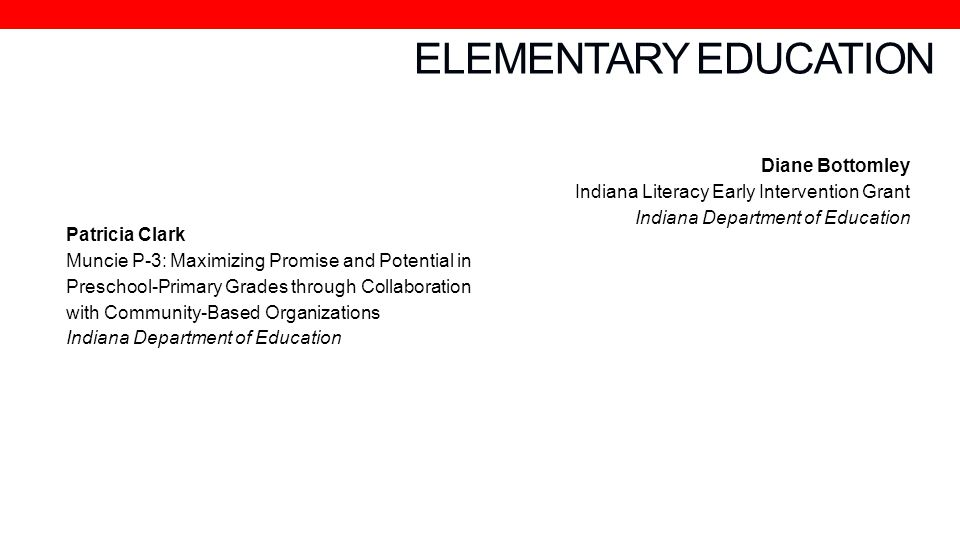 ELEMENTARY EDUCATION Patricia Clark
