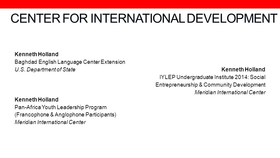 CENTER FOR INTERNATIONAL DEVELOPMENT