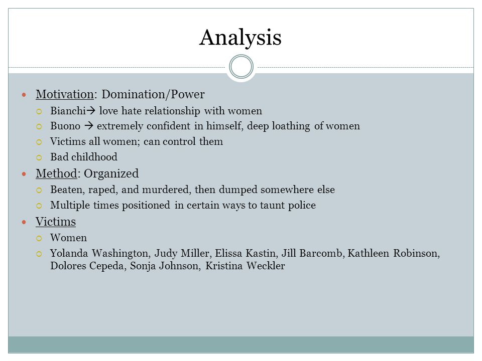 Analysis Motivation: Domination/Power Method: Organized Victims