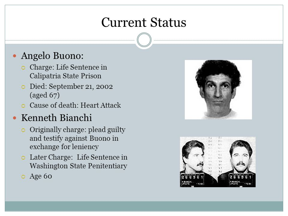 Current Status Angelo Buono: Kenneth Bianchi