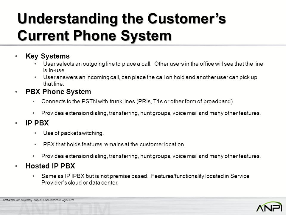 Understanding the Customer's Current Phone System