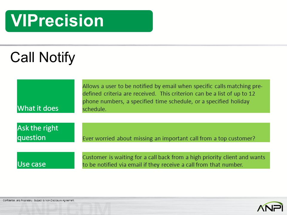 Call Notify What it does Ask the right question Use case