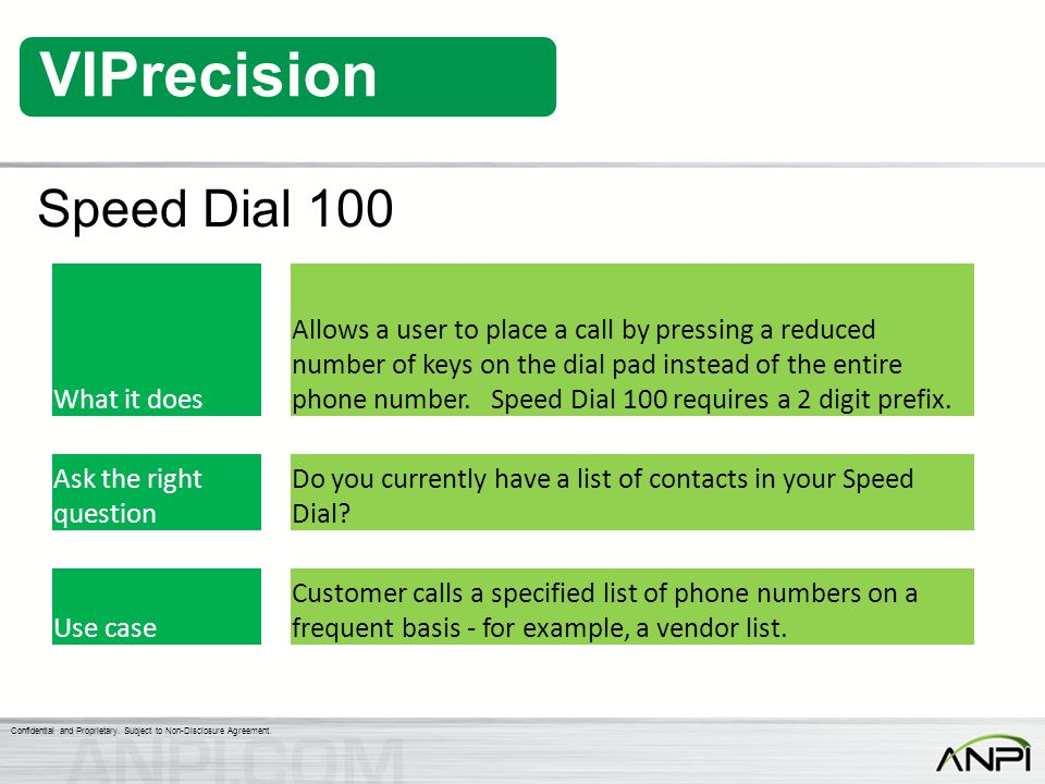 Speed Dial 100 What it does.